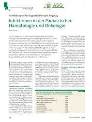 Infektionen in der Pädiatrischen Hämatologie und Onkologie