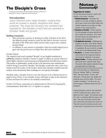 The Disciple's Cross - BaptistWay Press