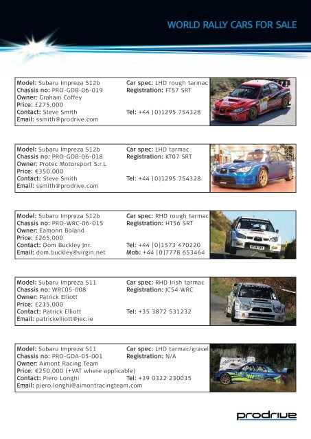 WORLD RALLY CARS FOR SALE - Prodrive