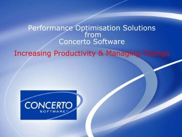 Performance Optimisation Solutions from Concerto Software ...