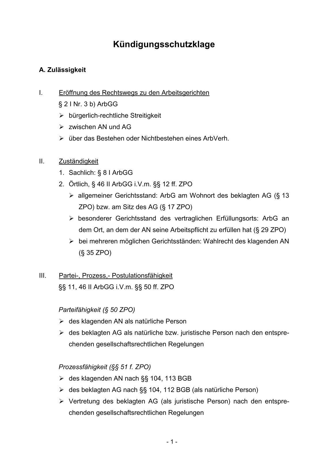 Kündigungsschutzklage Schema Jura Sentierophotography