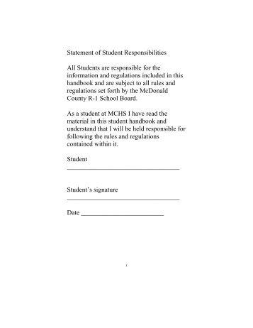 2010 - 2011 Student Handbook ~ Grades 9-12 - McDonald County ...