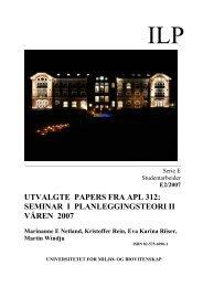 utvalgte papers fra apl 312: seminar i planleggingsteori ii ... - UMB