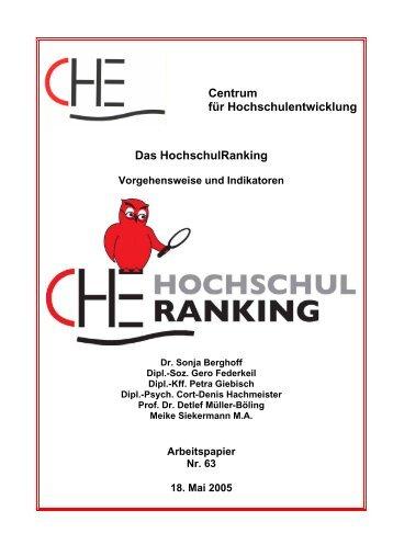 CHE Hochschulranking Methoden2005   CHE Ranking