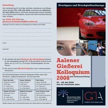 Aalener Gießerei Kolloquium - Hochschule Aalen