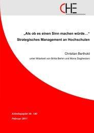 Strategisches Management an Hochschulen - Centrum für ...