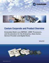 Cavium Corporate and Product Overview