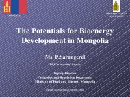 The Potentials for Bioenergy Development in Mongolia - CSAM