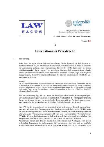 3 Internationales Privatrecht - Institut für Recht der Wirtschaft ...