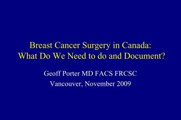 Breast Cancer Surgery in Canada - BC Cancer Agency
