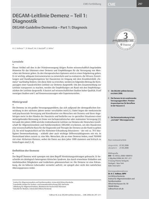 DEGAM-Leitlinie Demenz – Teil 1: Diagnostik - Zeitschrift für ...