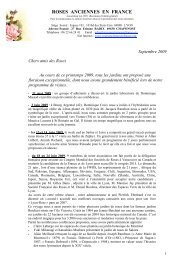 Lettre de septembre 2009 - Roses Anciennes en France