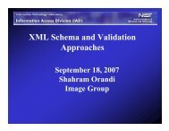 XML Schema and Validation Approaches - NIST Visual Image ...