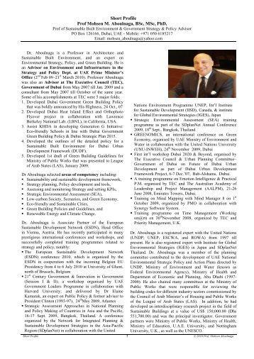 Short Profile Prof Mohsen M. Aboulnaga, BSc, MSc, PhD, - VISB