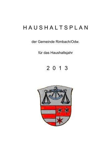 H A U S H A L T S P L A N 2 0 1 3 - Rimbach, Odenwald