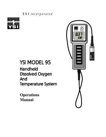 YSI Model 55 Handheld Dissolved Oxygen System Service Manual