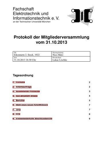 Mitgliederversammlung vom Do, 31. Okt 2013 - Fachschaft ...