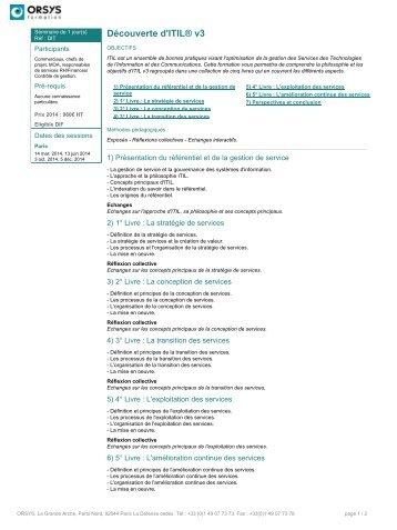 Découverte d'ITIL ®V3 - Orsys