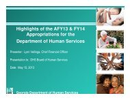 Highlights of the AFY13 & FY14 Appropriations for the Department of ...