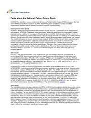 Facts about the National Patient Safety Goals - Joint Commission