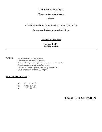 final exam – written part - École Polytechnique de Montréal