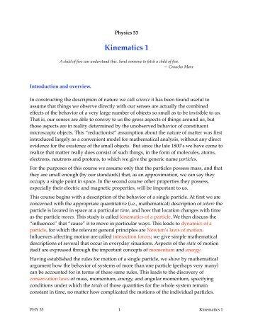 Kinematics 1 - Duke Physics