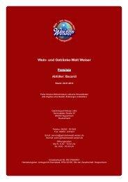 Preisliste für Abfüller: Bacardi - und Getränke-Welt Weiser