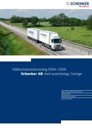 Hållbarhetsredovisning 2004–2005 Schenker AB med systerbolag i ...