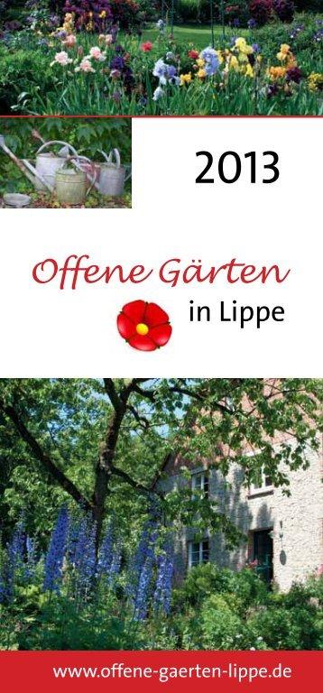 Download des 32-seitigen Flyers 2013 - Offene Gärten in Lippe