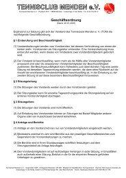 Geschäftsordnung vom 20.01.2005 - TC Menden