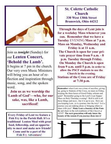 our Lenten Concert, 'Behold the Lamb'. - St. Colette Church