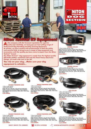 Niton Tactical K9 Equipment - Niton 999 Equipment