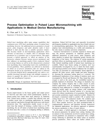 Process Optimisation in Pulsed Laser Micromachining with ...