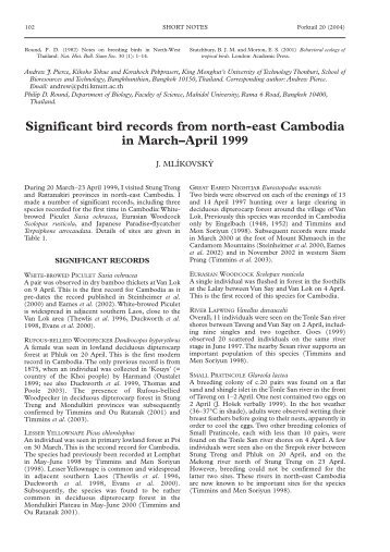 Significant bird records from north-east ... - Oriental Bird Club