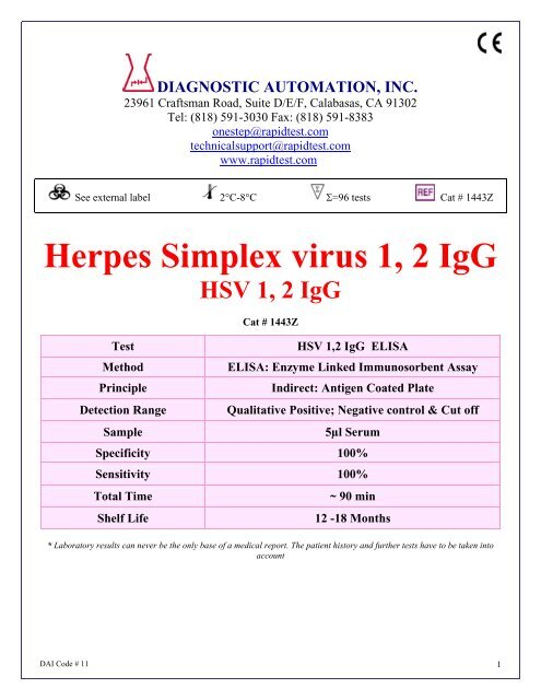 Herpes Simplex virus 1, 2 IgG - ELISA kits - Rapid tests
