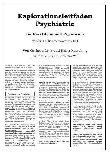 Explorationsleitfaden Psychiatrie für Praktikum und Rigorosum
