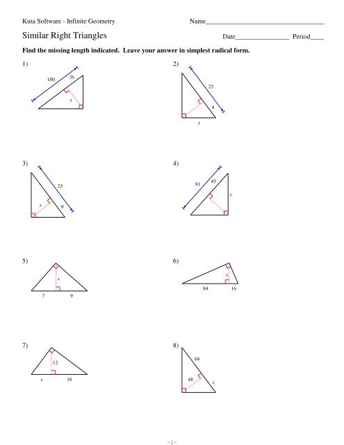 7 Similar Right Triangles Kuta Software