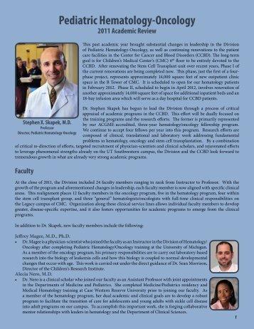 Pediatric Hematology-Oncology - UT Southwestern
