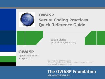 OWASP Project:Secure Coding Quick Reference Guide