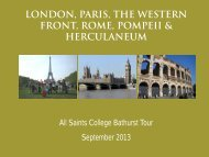 London, Paris, the Western FronT, Rome ... - All Saints College
