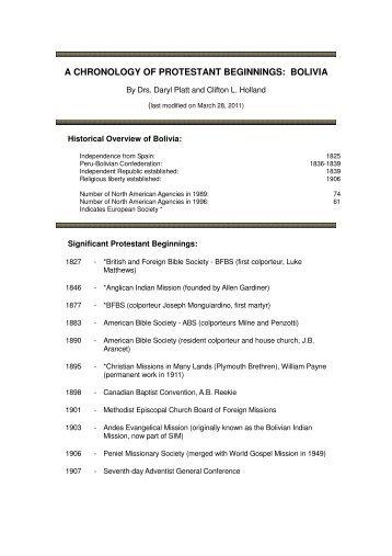 a chronology of protestant beginnings: bolivia - Prolades.com