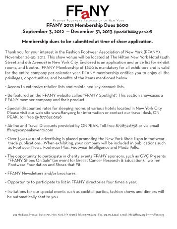 FFANY 2013 Membership Dues $600 September 3, 2012 ...
