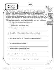 Metaphor Meanings | Figurative Language Worksheets