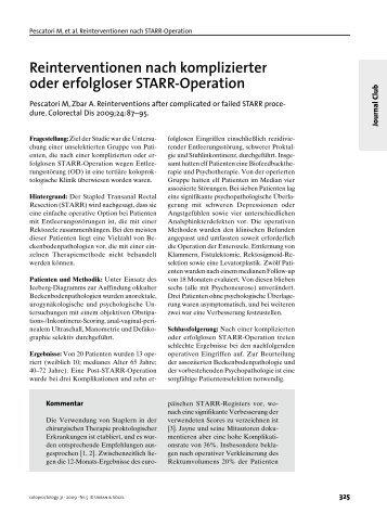 Reinterventionen nach komplizierter oder erfolgloser STARR ...