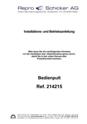 Anleitung - Repro Schicker AG