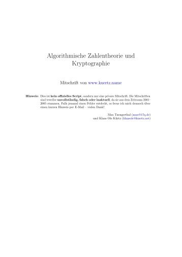 Algorithmische Zahlentheorie und Kryptographie - Mitschriften von ...
