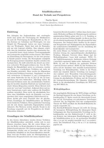 Schallfeldsynthese: Stand der Technik und Perspektiven ... - TU Berlin