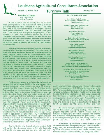 Newsletter Winter Issue - Louisiana Agricultural Consultants ...