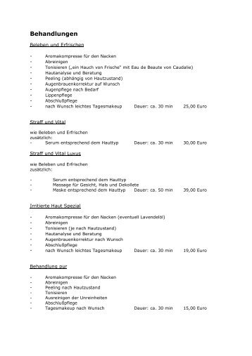 Preisliste Bio-Kosmetik-Behandlungen - City Apotheke