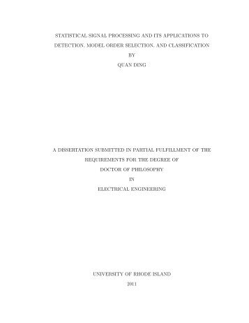 statistical signal processing and its applications to detection, model ...